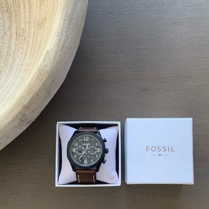 Men's Fossil Chronograph Brown Leather Watch